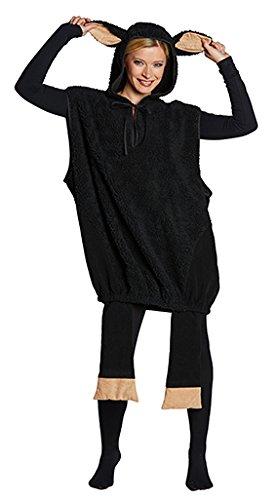 Erwachsene Kostüm Für Schaf - Kostüm schwarzes Schaf Overall für Damen und Herren (Small)