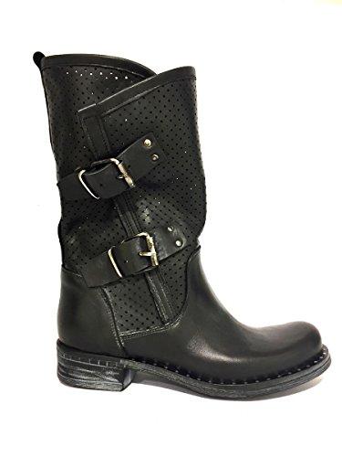 Stivali Dv760- Divine Follie in pelle traforati nero con borchie nero, 38 MainApps