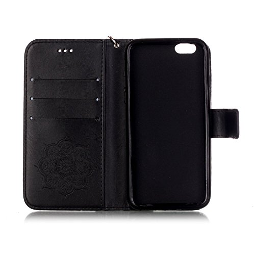 ISAKEN Custodia iPhone 6 Plus, Cover iPhone 6S Plus, Elegante borsa Custodia in Pelle Protettiva Flip Portafoglio Case Cover per Apple iPhone 6 Plus (6 5.5) / con Supporto di Stand / Carte Slot / Chi Dreamcatcher: nero
