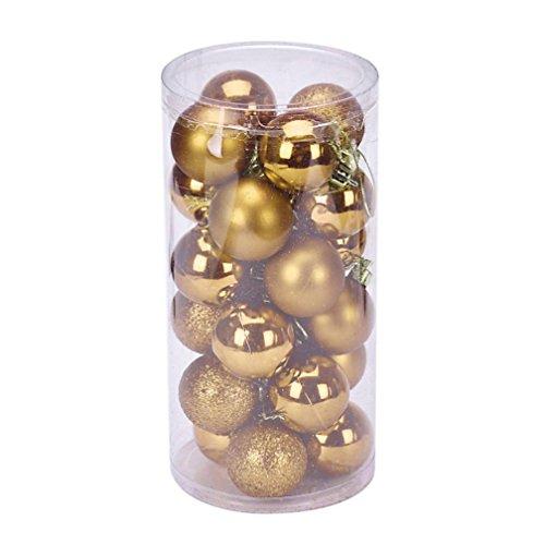 Sunnywill 4 cm 24PC Plastik-Weihnachtsbaum Dekoration Weihnachtskugel für Silvester (Golden) Geschenkkorb Dorf