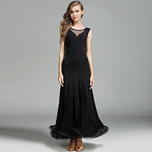 Moderne Dame Großen Pendel Hot Ice Silk Modern Dance Dress Tango Und Walzer Tanz Kleid Tanzwettbewerb Rock Lace Ohne Ärmel Tanz Kostüm,Black,L (Swing Ballroom Tanz Kostüme)