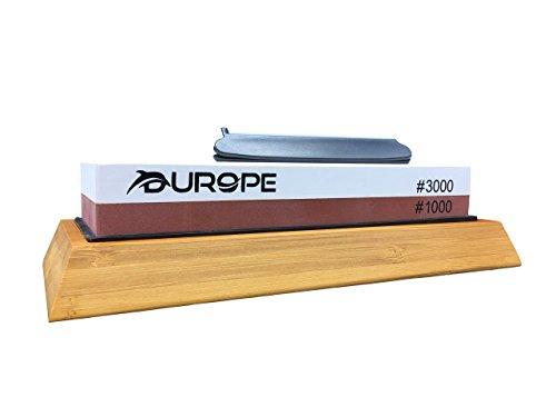 Durope Wetzstein mit 1000/3000 Körnung - Schleifstein Set zum Messer schärfen inklusive Winkelhalter für den perfekten Schliff