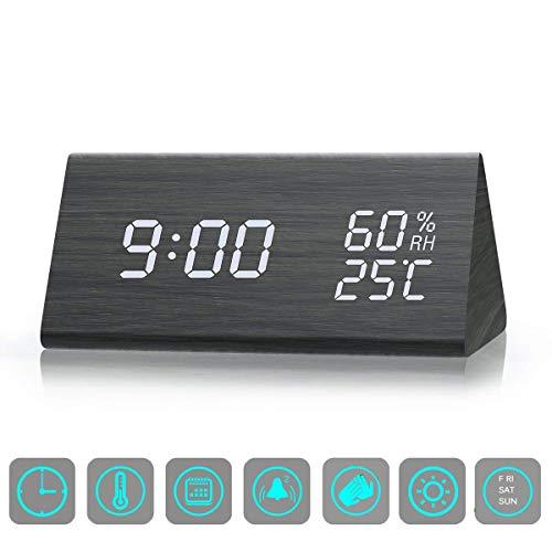 ZHENROG Reloj Digital,Reloj Despertador con 3 Alarmas Programables,Pantalla LED de Fecha, Brillo de 3 Niveles, Temperatura y Humedad Reloj de Grano de Madera para Habitaciones