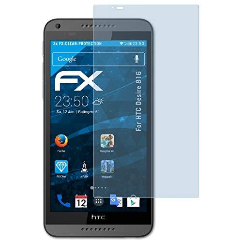 atFolix Schutzfolie kompatibel mit HTC Desire 816 Folie, ultraklare FX Bildschirmschutzfolie (3X)