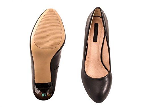 Elara Damen Pumps | Stiletto High Heels | Lederoptik Abendschuh Schwarz