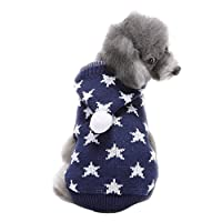 LvRao Puppy Dog Cat Knitting Sweater Cute Jumper Pet Christmas Costume Clothes Coat (Blue Star, L)