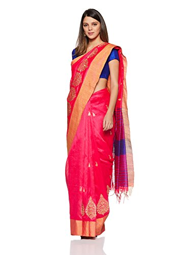 Aalia Art Silk Embroidered Saree with Blouse piece (8802-Pink, Violet-One size)