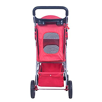 BTM Pet Travel Stroller Dog Puppy Pram Jogger Cat Pushchair with 4 Swivel Wheels (Red) 3