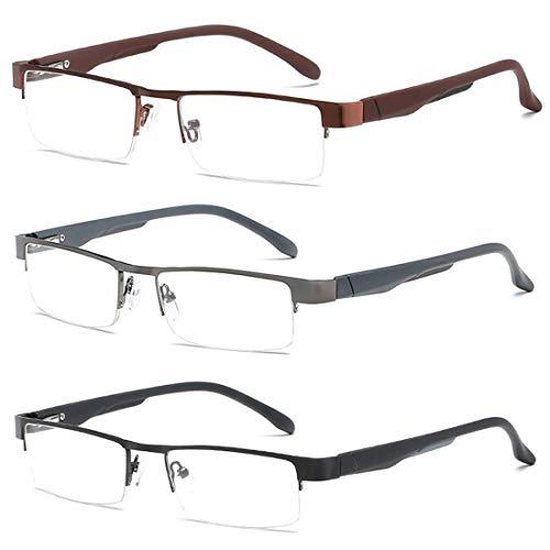 Inlefen occhiali da lettura in metallo uomini donne occhiali classici occhiali da vista a metà occhiali da lettura a forma rettangolare