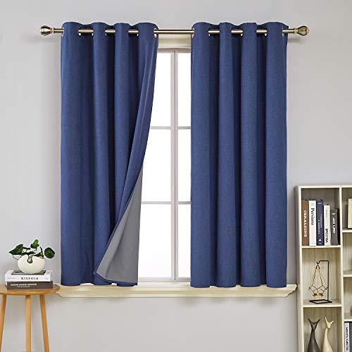 Deconovo tende finestre interni oscuranti termiche isolanti in finto lino con occhielli per casa moderne 2 pannelli 140x138cm blu scuro