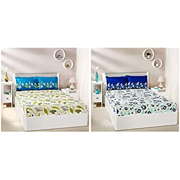 Amazon Brand - Solimo Jasmine Zest 144 TC 100% Cotton Double Bedsheet with 2 Pillow Covers, Blue & Lily Bloom 144 TC 100% Cotton Double Bedsheet with 2 Pillow Covers, Green Combo
