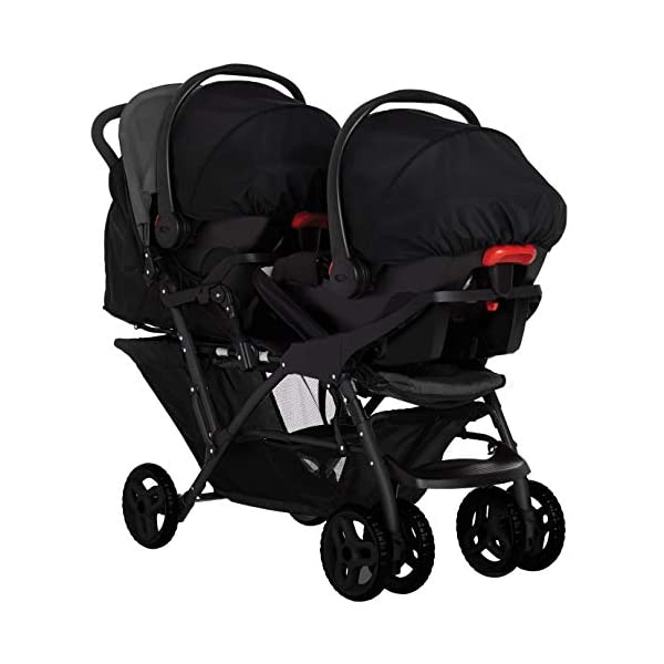 Graco Stadium Duo Click Connect Tandem Pushchair, Black/Grey Graco Compatible with all graco click connect car seats, which can be easily added to the tandem chassis with just one click. Folded-Length:66cm, Height: 109cm Convenient one-hand standing fold, featuring an automatic storage latch that folds effortlessly. Maximum weight capacity is 15 Kg. Stadium-style seating positions with slightly higher rear seat, so that both children can see the world around them 9