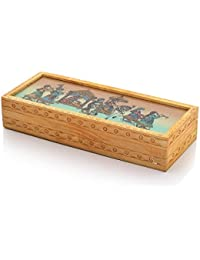 Carved Gemstone Painted Wooden Jewellery Box 354