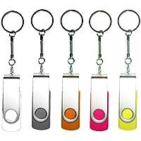 5pcs girevole USB 2.0 Flash Drive Memory Stick pieghevole Storage pollice u disk regalo (5 colori misti: Bianco Grigio Arancione Rosa Giallo) 5pcs Multi-Coloured 16 Gb