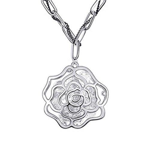 MSNHMU Stilvolle Vintage Rose Blume Lange Pullover Kette Halskette,Silver-M (Gypsy Moda Rose)