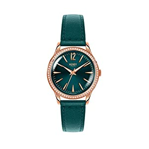 Henry London Womens Analogue Classic Quartz Watch with Leather Strap HL34-SS-0206