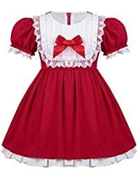 beb77109b56f YiZYiF Infant Baby Girls Christmas Vintage Lace Bow Short Puff Sleeves  Holiday Party Princess Dress Red