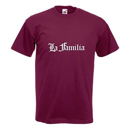 KIWISTAR - La Familia T-Shirt in 15 verschiedenen Farben - Herren Funshirt bedruckt Design Sprüche Spruch Motive Oberteil Baumwolle Print Größe S M L XL XXL Burgund