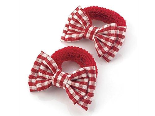 filles-paire-de-mini-tissu-avec-double-noeud-vichy-en-rouge-ideal-pour-lecole