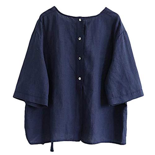 ESAILQ Frauen Baumwolle Leinen Bluse Tun Shirt mit Bogen(L,Blau)