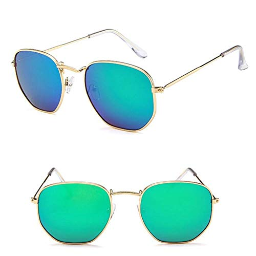 GAOHAITAO Polygonal Sunglasses Women Glasses Lady Metal Sun Glasses Mirror Uv400,Gold Green