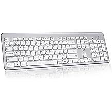 AURSEN Teclado inalámbrico de PC para Windows (QWERTY Español, USB, 2.4 GHz)- Color gris plata
