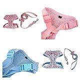 Homyl Verstellbar Rückseite Clip Hundegeschirr Welpengeschirr Softgeschirr Brustgeschirr mit Leine - Blau, S