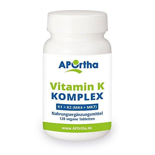 APOrtha Premium Vitamin K Komplex | K1 + K2 (MK 4 + MK7 - Menaquinon) | 120 Tabletten | vegan