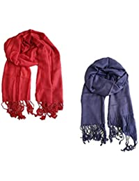 Stoles And Scarves For Women, Women's Scarf, Stole For Summer/Winter, Stylish, Scarf Combo, Blue And Red