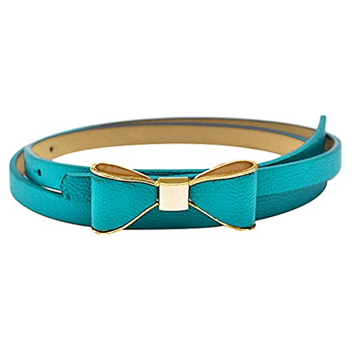 Damen gürtel Kleidgürtel Taillengürtel Gürtel Bowknot 12 Farben (Blau) (6.5 Blau, Kunstleder)