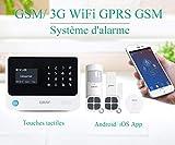 ERAY S2 WiFi GSM/3G GPRS Alarme Maison sans Fil Système d'alarme Extensible Anti Intrusion, iOS/Android APP, Alerte par SMS et Appel, SOS Touche, Bouton de Sonnette, Menu Française