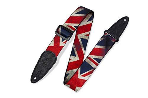 Levy's Leathers Gitarrengurt aus Polyester, 5,1 cm breit, Sublimationsdruck, Distressed Flag Design Großbritannien 0 0 Großbritannien-flags