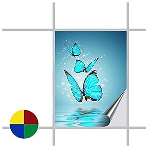 Fliesenaufkleber für Bad und Küche - 15x20 cm (BxH) - Motiv Butterfly - 8 Fliesensticker für Wandfliesen