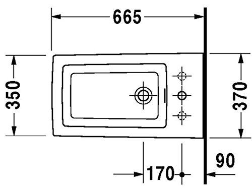 Duravit StandBidet 2nd floor 66cm 1 Hahnloch, weiß 137100000, 137100000