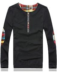 BOMOVO Camiseta Henley de manga larga para Sudaderas Hombre Yardas Grandes