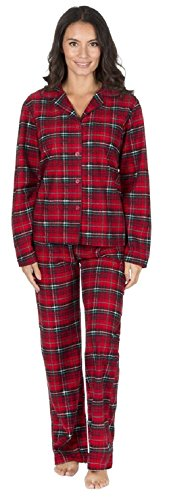 Womens Forever Dreaming Warm Soft Cotton Flannel Pyjamas 34B755 Red/Black Check XL (Flannel Black Check)