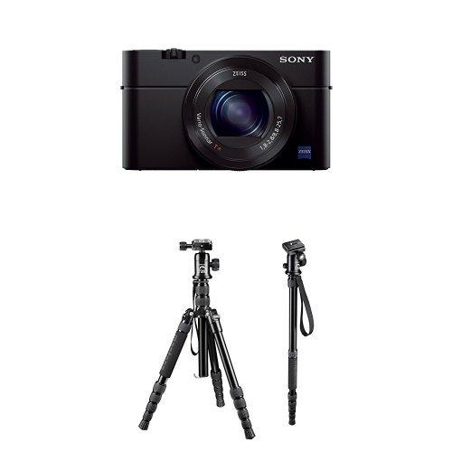 Sony DSC-RX100 III Digitalkamera (20.1 Megapixel Exmor R Sensor, 3-fach opt. Zoom, 7,6 cm (3 Zoll) Display, Full HD, WiFi/NFC) schwarz + Mantona DSLM Travel Reisestativ