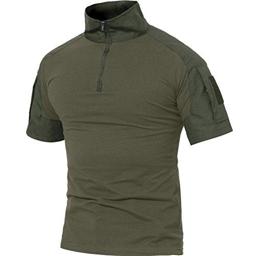 MAGCOMSEN Herren Baumwollehemd Kurzarm Airsoft Shirt für Herren Military Uniform Atmungsaktiv Outdoor Hemd mit 1/4 Reißverschluss Armeegrün M (Etikett: XL)