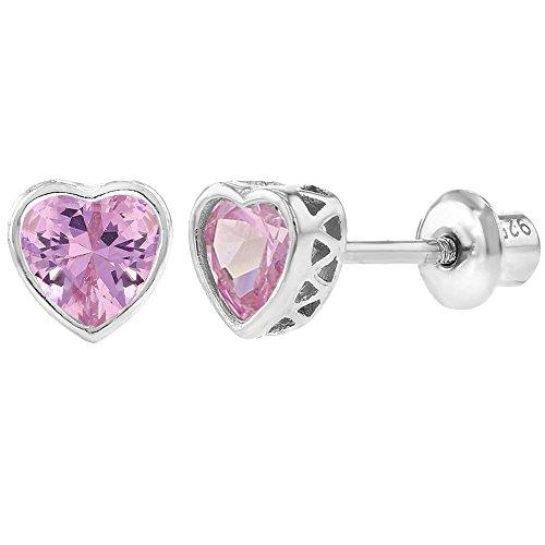 In Season Jewelry Baby Kinder Mädchen - Schraubverschluss Ohrringe Kleines Herz 925 Sterling Silber Rosa CZ Zirkonia