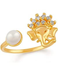 Mahi Gold Plated Vignaharta Ganesh Adjustable Finger Ring With CZ Stones And Artificial Pearl For Girls And Women...
