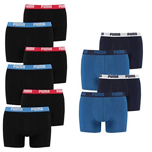 PUMA Herren Boxershorts Unterhosen 521015001 10er Pack , Wäschegröße:2XL, Artikel:2x2er true blue + 3x2er Schwarz Rot/Blau