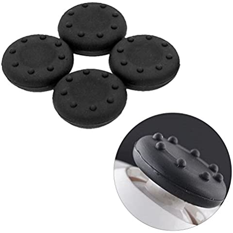 Asiv 4pz Sostituzione Silicone Stick Analogico Copertura per PlayStation 4 Nero - Nero Gomma Di Ricambio Di Copertura