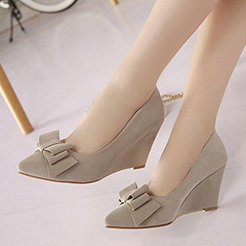 Oasap Women's Pointed Toe Bow Wedge Heels Slip-on Pumps Beige
