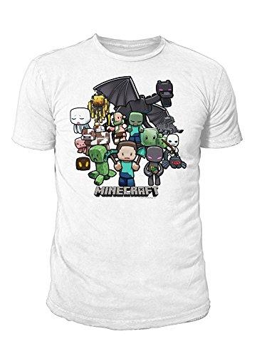 Preisvergleich Produktbild Minecraft - Premium Herren T-Shirt - Minecraft Party (Weiss) (S-XL) (S)