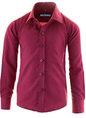 GILLSONZ GA1 vDa Kinder Party Hemd Freizeit Hemd bügelleicht Lange Arm mit 11 Farben Gr.86-176 (128/134, Bordeaux)