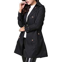 MISSMAO Donna - Trench Coat Cappotto Giacca - Basic - Maniche Lunghe Doppio  Petto con Cintura e4448580d5ed