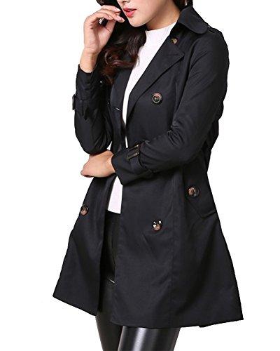 ed860c06b9f6c3 Donna - Trench Coat Cappotto Giacca - Basic - Maniche lunghe Doppio Petto  con Cintura -
