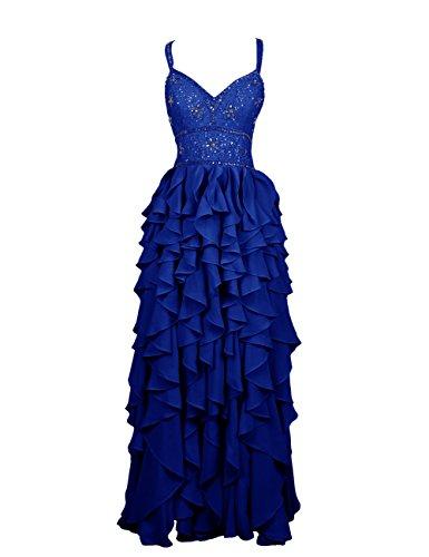 Dressystar Robe femme, Robe de soirée/ Cérémonie longue, à bretelles,fleur, en Mousseline Bleu Saphir