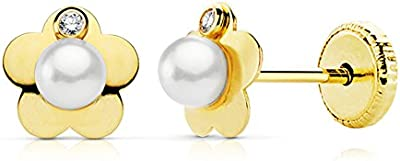 Pendientes bebe niña oro amarillo 18k 5 x 5 mm perlas rosca