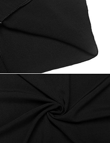 Teamyy Robe Femmes Décontractées Col-V Robe Style Ethnique Imprimé Asymétrique Robe Bretelle Fine Noir